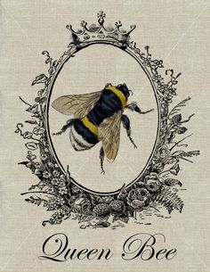 QUEEN BEE - Vintage Bumblebee Fabric Transfer Download - Buy 2 Get 1 Free.  via Etsy.