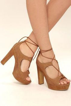 cd3b796877 The Margot Camel Lace-Up Platform Heels will always stand out in a crowd!  Sleek vegan leather covers a peep-toe upper with toe platform), and  continues into ...