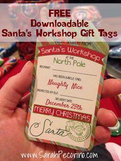 Free Printable Christmas Santa's Workshop Gift Tag