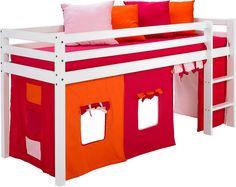 Pfiffiges halbhohes Bett für Kinder. Gestell aus FSC®-zertifizierter massiver Kiefer, weiß lackiert. FSC®-zertifiziert. Pfostenstärke 52 mm, Materialstärke 25 mm . TÜV-/GS-geprüft. Stoffdessin: pink-orange, aus 100% Baumwolle. Details: Das Set besteht aus: 1 halbhohes Bett, 1 Vorhang-Set, pink-orange, 1 Matratze, 1 Rollrost., Leiter links oder rechts montierbar., Mehrteiliges Vorhang-Set: St...