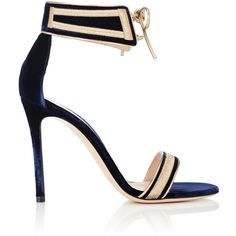 Gianvito Rossi Women's Augusta Sandals ($1,145) ❤ liked on Polyvore featuring shoes, sandals, colorless, lace up sandals, ankle tie sandals, high heel sandals, metallic gold sandals and navy blue high heel sandals