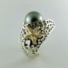 14k Gold Starfish Ring  Sea Fan Handmade by DawnVertreesJewelry
