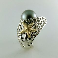 Sea Fan Handmade Ring - Gold Starfish - Tahitian Pearl Ring - Great Ocean Jewelry