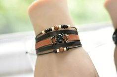 Items similar to 2 MODELS, Leather Scull bracelet, 5 bracelets in one, with black or white steel scull on Etsy Handmade Leather Jewelry, Unique Jewelry, Bangles, Bracelets, Leather Material, Cartier Love Bracelet, My Etsy Shop, Trending Outfits, Handmade Gifts