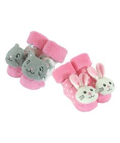 This Pink & Gray Bunny & Kitten Two-Pair Rattle Socks Set is perfect! #zulilyfinds