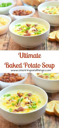 Loaded with potato chunks, bacon bits, shredded cheese, green onions and sour cream, this Ultimate Baked Potato soup is the ultimate in comfort food!