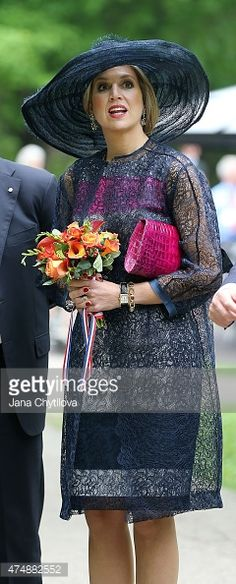 Queen Maxima of The Netherlands looks on at the Rideau Hall grounds during a during a state visit to Canada, on May 27, 2015 in Ottawa, Ontario, Canada.