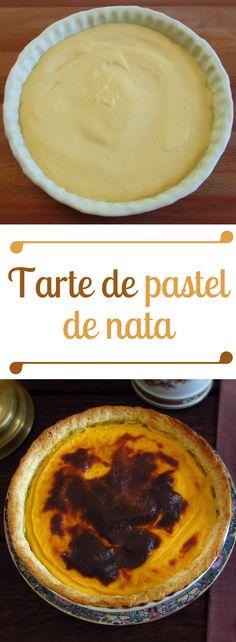 Tarte de pastel de nata | Food From Portugal. Sirva esta deliciosa sobremesa num lanche entre amigos. Uma tarte cremosa e deliciosa que todos vão querer provar… #tarte #pastel #doce #receita