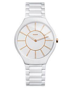 Rado Watch, Women's Swiss True Thinline Diamond Accent White Ceramic Bracelet 39mm R27957702 - Watch Brands - Jewelry & Watches - Macy's