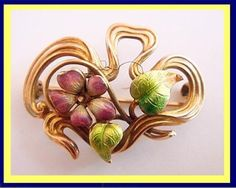 Antique Signed Art Nouveau Enamel 14k Gold Brooch Pin by Link & Angell - wow !!!