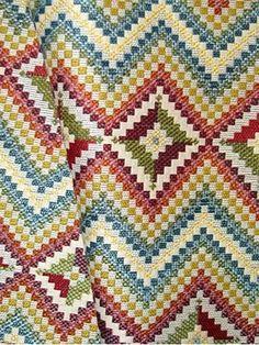 Desert Blossom: Beautiful jacquard tapestry fabric from Richloom Fabrics - Transitional arts and crafts chevron pattern. Perfect for upholstery fabric or any home décor fabric project. Durable, thick, heavy and soft cotton/ polyester. Repeat V x H wide