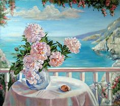 Peonies on the porch - Art Painting Renaissance Paintings, Art Painting, Floral Painting, Oil Painting Nature, Painting, Beautiful Paintings, Art, Canvas Painting, Seascape Paintings