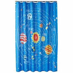 Jumping Kids Bathroom Accessories Shower Space Planets Cool Curtains