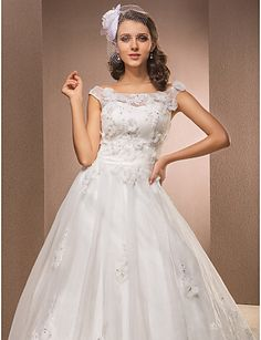Lanting Bride® A-line Petite / Plus Sizes Wedding Dress - Classic & Timeless Vintage Inspired Chapel Train Scoop Lace / Organza with 224646 2016 – ₩261,269