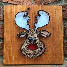 """Cuadro String Art """"Rudolf"""" #hilorama #clavos #hilos #nails #wood #homemade #diy #manualidades #stringart #fils #madera #string #hechoamano #manualitats #rudolf #navidad #nadal #xmas #christmas #reno"""