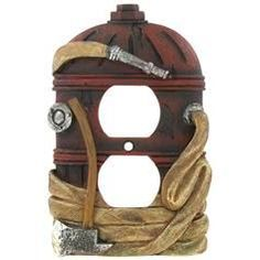 This polyresin Fire Hydrant Double Outlet Cover is the perfect way to bring a touch of charm into your home. In shades of red, cream-gold, and silver, this hydrant-shaped cover features distressed det Fireman Room, Firefighter Bedroom, Firefighter Paramedic, Firefighter Decor, Firefighter Family, Firefighter Wedding, Female Firefighter, Fire Dept, Fire Department