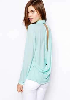 Green Long Sleeve Backless Loose Chiffon Blouse pictures