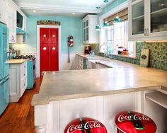 Kitchen Red Black Turquoise Aqua White Design, Pictures, Remodel, Decor and Ideas