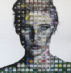 Portraits on recycled technology by Nick Gentry