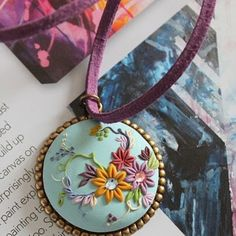 Enchanted Garden, #handcrafted, #polymer clay #pendant by @TresorBelle £29.99