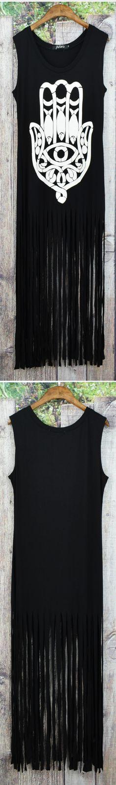 Azbro's Fashion Sleeveless Fringed Hem Vest Long Dress