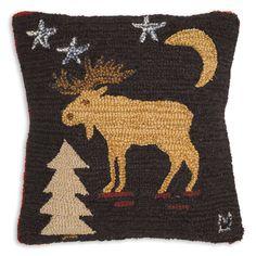 "18"" Night Moose, hand hooked wool pillow, Chandler 4 Corners, Manchester VT"