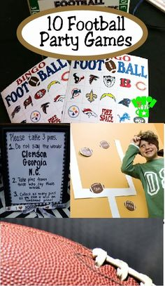 10 Football Party Games Featured at Kims Kandy Kreations. I love the new spin on pin the football in the goal post Flag Football Party, Kids Football Parties, Football Party Games, Football Themes, Football Birthday, Sports Party, Girl Football, Football Banquet, Football Crafts