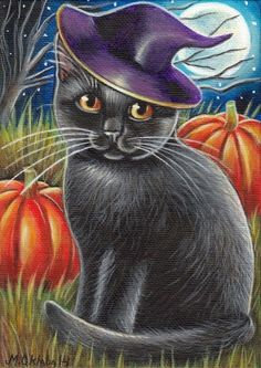 Black Cat - Halloween Painting