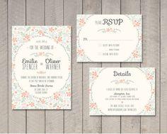 Floral Wedding Invitation RSVP Details Card by vintagesweetdesign