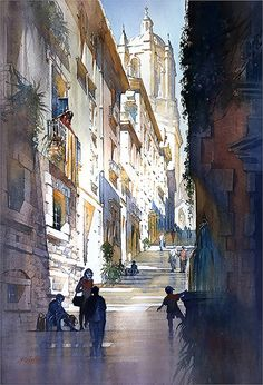 Street of Steps - Girona by Thomas W. Schaller Watercolor ~ 30 x 22 inches