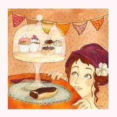 """""""La gourmandise"""", carte postale carrée de 14x14cm : Cartes par anne-soline-sintes"""
