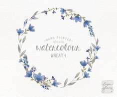 Watercolor wreath: hand painted floral wreath by LisaGlanzGraphics