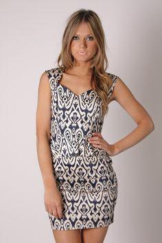 palm beach pattern dress- cream/navy print