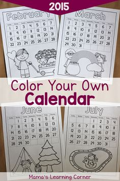 Color Your Own Calendar: Free Printable! January through December 2015