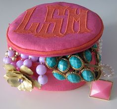 Monogrammed jewelry pouch.