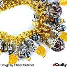 DIY Mixed Metals Charm Bracelet in Gold, Grey & Silver Recipe from eCrafty.com Supplies list (with product links) http://wp.me/p1zpgR-Si Cheryl started with our completely assembled gold chain maille charm bracelet base (in gold) and then added lots of dangles. #ecrafty #chainmaille #diycharmbracelets #mixedmetals #diycrafts #diybeading #jewerlysupplies Design by Cheryl Satterlee