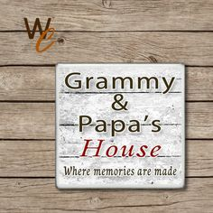 Grammy & Papa Drink Coaster, Price Is For One Coaster, Handmade Ceramic Coasters, Gift For Grandparents, Hot and Cold Drinks, Made To Order by WoodlandCrew on Etsy