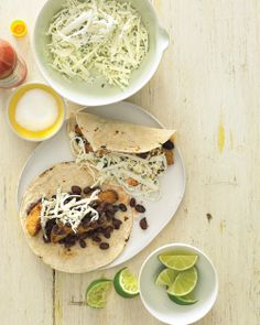 Fish Tacos with Cabbage, Jicama, and Black Beans, Wholeliving.com #cincodemayo