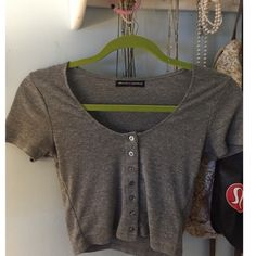 BRANDY MELVILLE TOP Cute grey Brandy top, worn many times but still is great condition Brandy Melville Tops