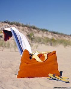 Beach-Towel Bag  With very little alteration, you can turn one of your favorite beach towels into a handy tote.