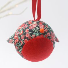 Pair of Liberty of London Fabric Robin Baubles