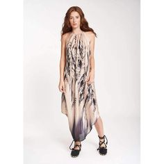 577bbf98c47b Silky crep long dress with eleane feather print. Guess By Marciano ...