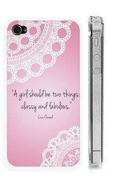 "Chanel iPhone Case with Quote - Clear Snap on iPhone Cover for 4 and 4s - ""A girl should be two things: classy and fabulous"" - Quote and Lace iPhone Cover by StarShine Wireless. $10.00. Coco Chanel Quote ""A girl should be two things: classy and fabulous"". Sturdy Clear iPhone Cover. Height: 4.5"", Width: 2.5"" , Thickness: 0.5"""