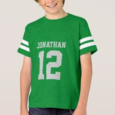 Create your own personalized football jersey boys' T-shirt with custom name and number. A cool customizable sports shirt, that is a cute gift idea for boys. This trendy kids sportswear is suitable for all sports, including football, soccer, volleyball, baseball, softball, basketball and hockey.   #sport #jersey #custom #personalized #number #kids