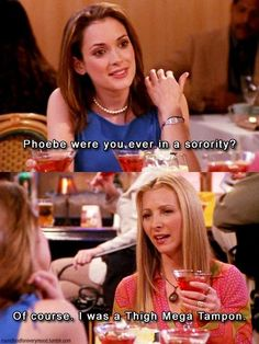 Rachel goes to dinner with her sorority sister and Phoebe comes along.