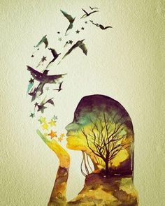 This is the one, instead of the tree i want a beautiful water color sunset and she is also made of water colored flowers. The girl symbolizes me, and she blows out water colored stars and hearts, small puzzle pieces, and an array of birds.