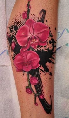 pink orchids tattoo