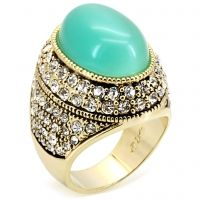 Jillian-We don't need a crystal ball to know that this gorgeous piece of jewelry will be a standout addition to your collection, with its smooth turquoise cat eye surrounded by rows of crystal pave stones, set in a rich antique gold setting. Our prediction: wearing this ring will make you feel utterly fabulous.  $55 www.jillzarinjewelry.com