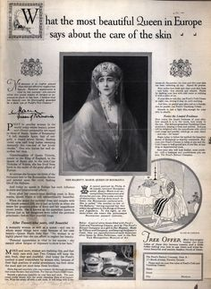 The Philip de Laszlo portrait of Queen Marine in the Vladimir sapphire kokoshnic used to sell Pond's Cold Cream, 1925 Von Hohenzollern, Ponds Cold Cream, Maud Of Wales, Romanian Royal Family, Peles Castle, Kaiser, Royal Weddings, Study Notes, Interesting History
