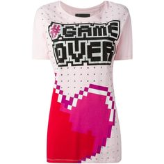 Philipp Plein Game Over T-Shirt ($411) ❤ liked on Polyvore featuring tops, t-shirts, loose fit t shirts, embellished tops, pink t shirt, short sleeve crew neck tee and embellished tee